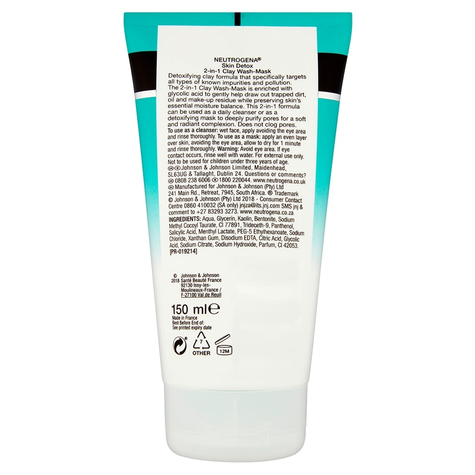 Skin Detox 2 in 1 Clay Wash Mask
